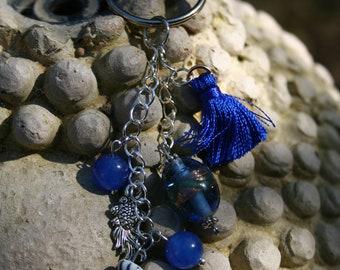 Cadeau maîtresse, Porte clés poisson céramique et perle de Murano, Idée cadeau