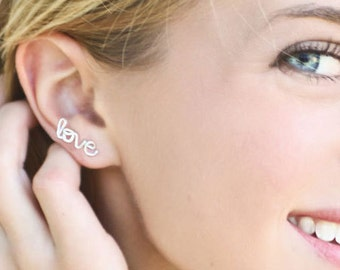 Love Earring Sterling Silver Or Gold Filled