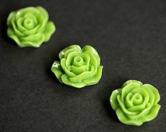 Spring Green Rose Magnets. Set of Three Fridge Magnets. Green Flower Magnet Set. Refrigerator Magnets. Office Magnets or Kitchen  Decor.
