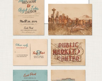 Seattle Washington Invitation Rustic Urban wedding Seattle Skyline Pike Place Market Destination illustrated invitation Deposit Payment