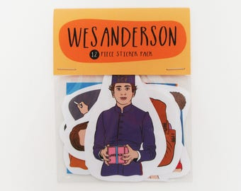 Wes Anderson - 12 piece sticker set - Wes Anderson stickers - Bill Murray - Moonrise Kingdom - The Life Aquatic - Grand Budapest hotel