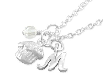 Cupcake Necklace, Sterling Silver, toddler, 1st birthday necklace, childs necklaces, personalized, birthstone, initial, monogrammed, MACY