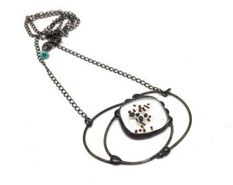 klar, schmelzglas Draht Arbeit Glasmalerei Wolke Halskette