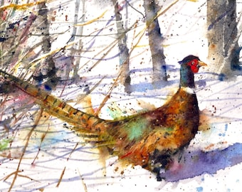 RINGNECK PHEASANT Watercolor Print by Dean Crouser