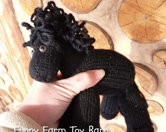 Black Beauty: Knitted Pony Stuffed Animal Horse Natural Waldorf Inspired Eco Friendly Toy