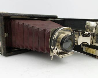 Antique Kodak Eastman Premo w/ Red Bellows and Case