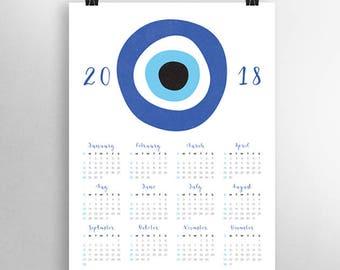Yearly Calendar 2018, 2018 Calendar, Wall Calendar 2018, Greek Evil Eye Art, Evil Eye Print, Nazar, Large Wall Calendar, Instant Download