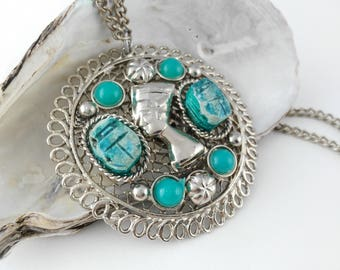 Scarab Pendant - Egyptian Pendant - Blue Boho Necklace - Festival Necklace -  Hippie Pendant - Gift for Women - Mother's Day Gift