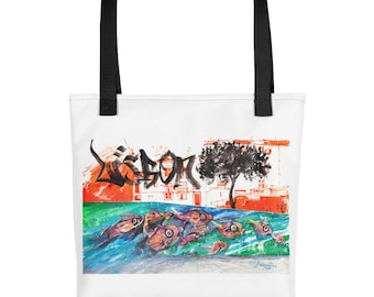 Lisbon Portugal Street Art Fishes Tote Groccery Bag