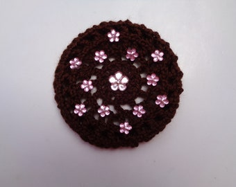 Small Bun Cover with Pink Flower Rhinestones, Crochet Bun Cover, Bun Wrap, Bun Holder, Ballet Headpiece, Ballet, Dance,