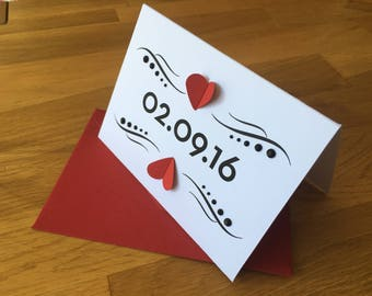 Special Date card, greeting card, valentine, anniversary card, 3d greeting card, milestone birthday, wedding date card, first date card,
