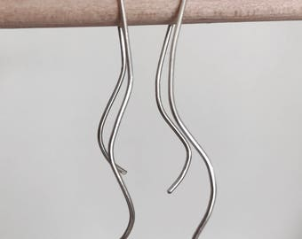 Long Waved & Curve Sterling Silver Earrings/Gift for Her/Minimalist/Mom Gift/Valentine's day gift