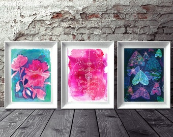 Set of 3 Wall art prints Floral Moths archival art print hand drawn illustration
