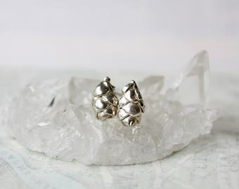 Sterling silver studs, succulent earrings, botanical jewelry, plant jewelry, cast from nature, gift for wife girlfriend sister gardener
