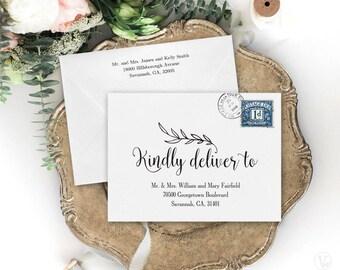 Wedding Envelopes, DIY Wedding Envelope Addressing Template, Printable Wedding Envelope Template, A7 Envelope Size, WE001, VW01