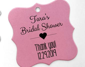 Personalized Bridal Shower Favor Hang Tags, Color Cardstock Favor Tags (FS-006-CC)