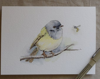Gray and yellow bird bee watercolor card-Prints