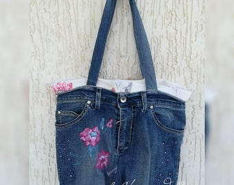 Jeans bag with hand-painted flowers