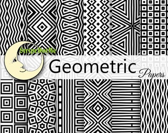 Geometric Digital Paper Black and White Stripes Squares Chevron - Instant Download - Commercial Use 00122