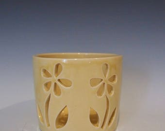 Wheel thrown yellow ceramic luminary, ceramic candle holder, luminary with hand carved daisy design