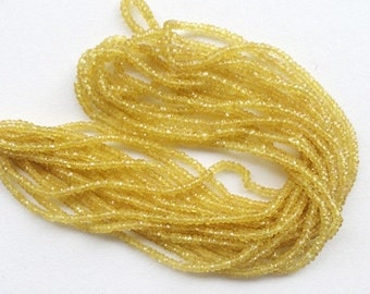Yellow Sapphire Faceted Rondelle Beads, Natural Yellow Sapphire Beads, Yellow Sapphire Necklace, 2.5-3mm, 4 Inch - AGA35