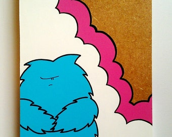 Grumpy Chep Monster - Original Wooden Panel Painting