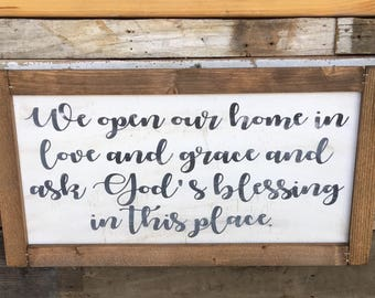 Farmhouse Sign | God's Blessing | Rustic Sign | Custom Sign | Handprinted Sign | Christian Gift
