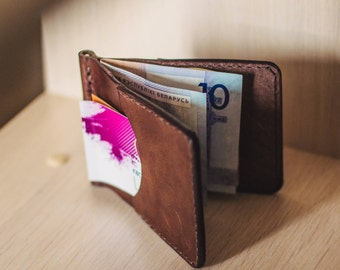 The clip wallet. Wallet for the summer. Birthday gift. Gift for a man/woman. Wallet made of full grain leather. Small leather wallet