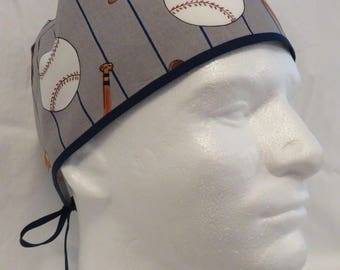 Men's Basic Scrub Hat - Baseball Stripes - MJ043