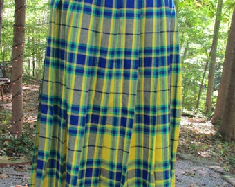 Vintage Plaid Catalina Skirt|  Women's Vintage Plaid Skirt| School Girl Skirt|  Vintage Uniform Skirt|  Yellow and Blue Pleated Skirt