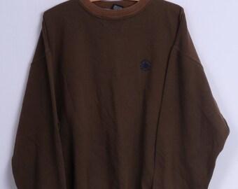 Converse All Stars Mens L Sweatshirt Vintage Brown Cotton Crew Neck Top