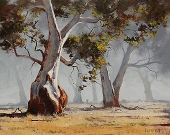 LARGE TREE PAINTING  Australian artwork  Eucalyptus landscape by G.Gercken