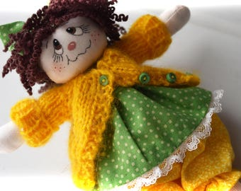 """Dolly-for-doll, or you! Handmade 8"""" fabric doll."""