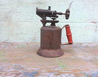"""Industrial Steampunk """"The Turner Brass Works"""" Copper Finish Metal Blow Torch w/ Red Wood Handle"""