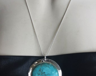Turquoise Pendant Turquoise Necklace December Birthstone Blue Turquoise Pendant 925 Silver bezel 60 mm Big  Statement Turquoise Necklace-