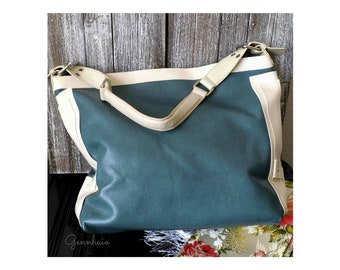Green Hobo Bag, Vegan Purse, Faux Leather Handbag, Boho Bag, Vegan Handbag, Shoulder Bag, Slouchy Bag, Cream Tote Bag, Everyday Bag