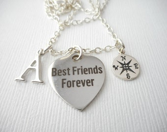 Best Friends Forever, Compass- Initial Necklace/ Gift Idea, Gift for best friend, Birthday Gift, bff jewelry, Gift for bff, Personalized