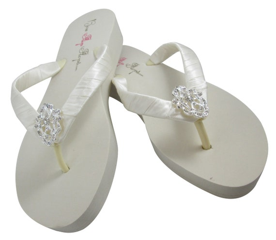 3 Choose bride height Sandals bridesmaids 5 Flip inch White heel ivory Flower wedge Flop Wedding Vintage HdxWzp