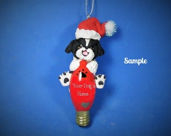 Black and White Shih Tzu Santa Dog Christmas Light Bulb Ornament Sally's Bits of Clay OOAK PERSONALIZED FREE with dog's name