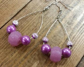 Purple Wire Earrings