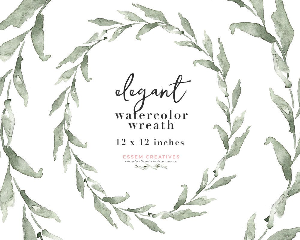 Watercolor Olive Wreath Clipart Eucalyptus Wreath PNG for