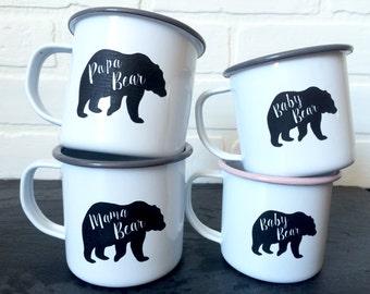 Mama, Papa and 2 Baby Bear Enamel Mugs Set - Personalized Camping Mugs - Vintage Style Enamel Mugs - Mother's Day Gift - Set of 4 mugs