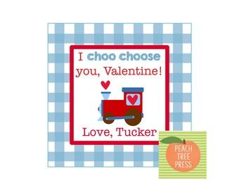 Valentine Card {Blue and Red Valentine Heart Train}