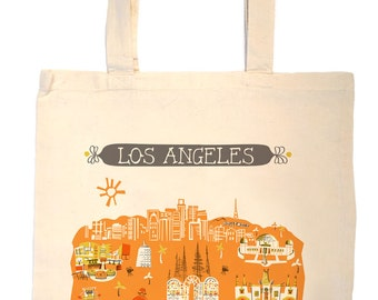 Los Angeles Tote Bag-City Tote-Any City Tote-Orange-Gold-California Tote-Gray-Personalized-Custom Wedding Tote-Wedding Welcome Tote