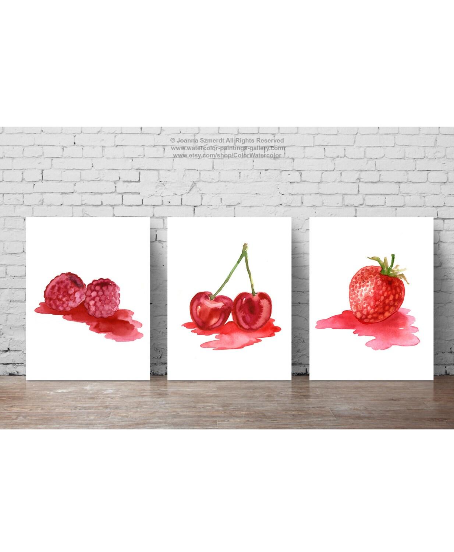 Erdbeere Himbeere Kirsche Frucht rot Kinderzimmer Wand-Dekor