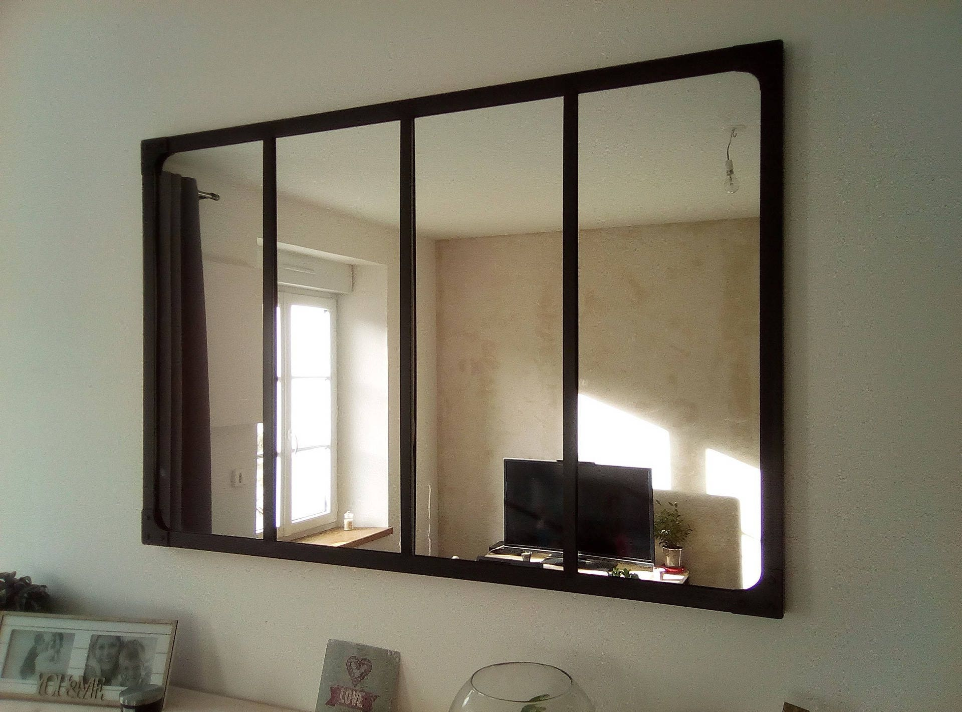 Miroir style verri re industriel 120x80 cm for Miroir verriere