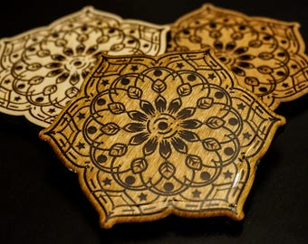 Laser Engraved Handmade Seed Earth Mandala Nature Circle Wooden Coaster