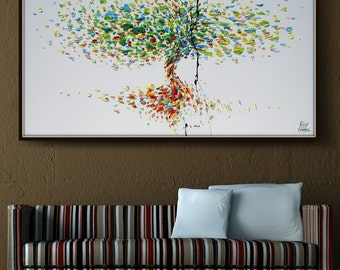 "Tree 55"" Original oil painting on canvas, Luxury thick layers tree of Life, Large size painting, Gives extremely good vibes, by Koby Feldmos"