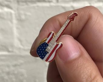 Vintage Enamel Lapel Pin or Hat Pin - American Flag Electric Guitar