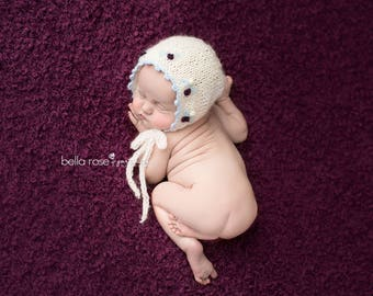 Embroidered Bonnet Photo Prop Newborn Girl Hat Baby Going Home Outfit Hand Knit Shower Gift Coming Cap Knitted Infant Photography Organic